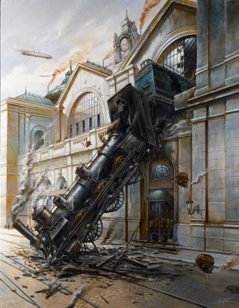 Didier Graffet, Montparnasse, Acrylique sur toile 90 x 117 cm  Exposition Daniel Maghen (catalogue) 2012,  Steampunk- De vapeur & d'acier, Editions Le pré aux clercs, 2013.