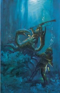 Le capitaine Némo montra à son compagnon le hideux crustacé. Acrylique sur carton Ed. Gründ 2002