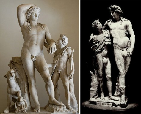 A gauche : Dionysos, une panthère et un Satyre (ou Ludovisi Dionysos), Palazzo Altemps, Rome, Italie. A droite : Bacchus et Ampelus, Galerie des Offices, Florence, Italie.