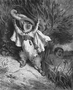 Gravure de Gustave Courbet pour le conte Le Chat Botté de Charles Perrault. La ressemblance avec le Chat Potté d'aujourd'hui n'est-elle pas frappante ?