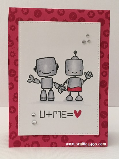 U + Me = <3 Materials used: Stamps -Boom Bots (Paper Smooches); Die - Pierced Rectangle Stax (MFT); Cardstock - Knights Smooth (Knights), Melon Mambo (Stampin' Up!); Copic Markers; Melon Mambo Ink Pad (Stampin' Up!), Clear Rhinestones (KaiserCraft) and Wink of Stella.