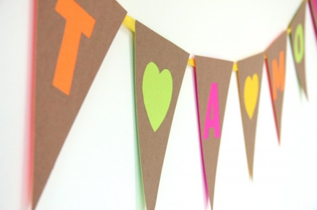 DIY Neon and Kraft Cut Out Bunting