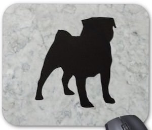 Pug Silhouette Mousepad