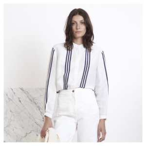 Give me a stripe any day Lovely mao collar shirthellip