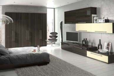 Walnut-and-Cream-High-Gloss-Contemporary-Bedroom-Stylecraft-Kitchens-and-Bedrooms-Cork