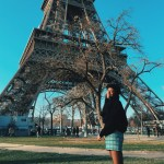 cute girl paris beret eiffel tower