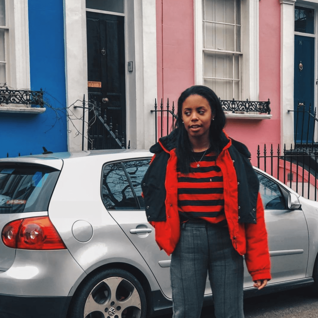 vintage red and black puffer, notting hill
