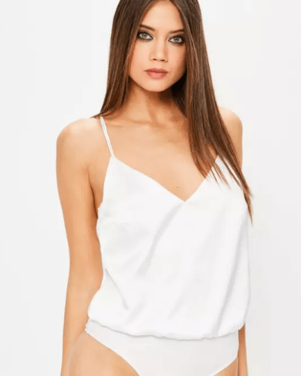 Missguided White Satin Strappy Bodysuit