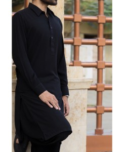 Shalwar Kameez Black-Rib Shirt Collar