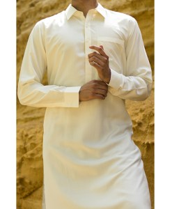 Shalwar Kameez Cream Wash n Wear Shirt Collar