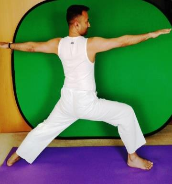 Yoga Pose Warrior by Celebrity Yoga Instructor Subodh Gupta in London