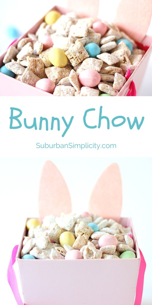 It's easy to turn your Muddy Buddies into an Easter Treat - Bunny Chow! This tasty Chex Mix recipe idea is good for parties or just snacking. Careful, it's gone in a flash!