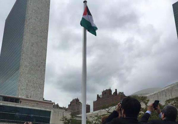 """للمرة الأولى .. رفع علم دولة فلسطين على مبنى الأمم المتحدة بـ""""نيويورك"""""""