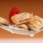 Whole wheat shredded cereal with raspberry