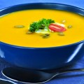 Pumpkin or squash soup in a bowl