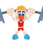 Weightlifter lifting barbell. Cartoon illustration.