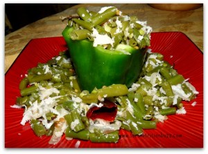 Peppers Stuffed with Fresh Green Beans Garlic & Coconut