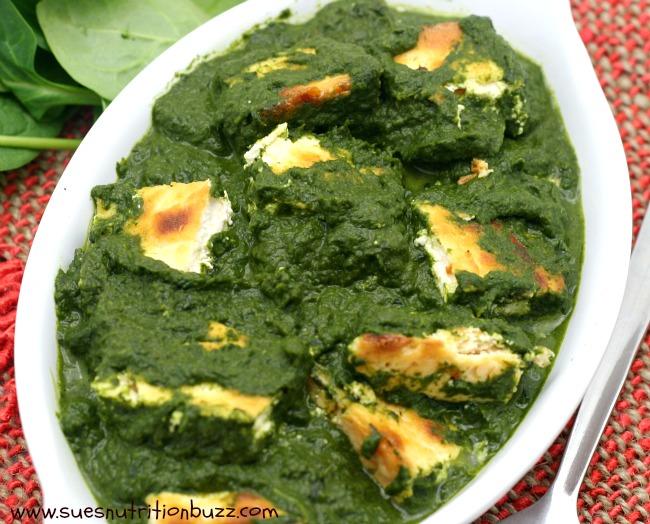 Saag Paneer ! Golden Ricotta In Savory Spinach Sauce #SundaySupper