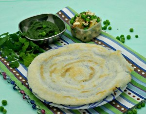 Dosa / Rice Crepe stuffed with Peas