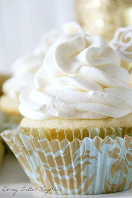 White Chocolate Raspberry Champagne Cupcakes | Living Better Together