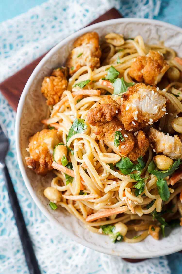 These Crispy Chicken Thai Peanut Noodles are a quick and easy meal ...
