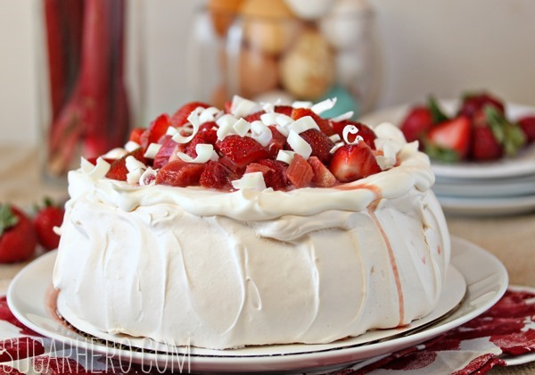 Strawberry Rhubarb Pavlova | SugarHero.com