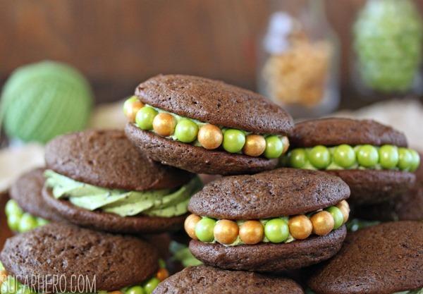 Mint Chocolate Chip Whoopie Pies | SugarHero.com