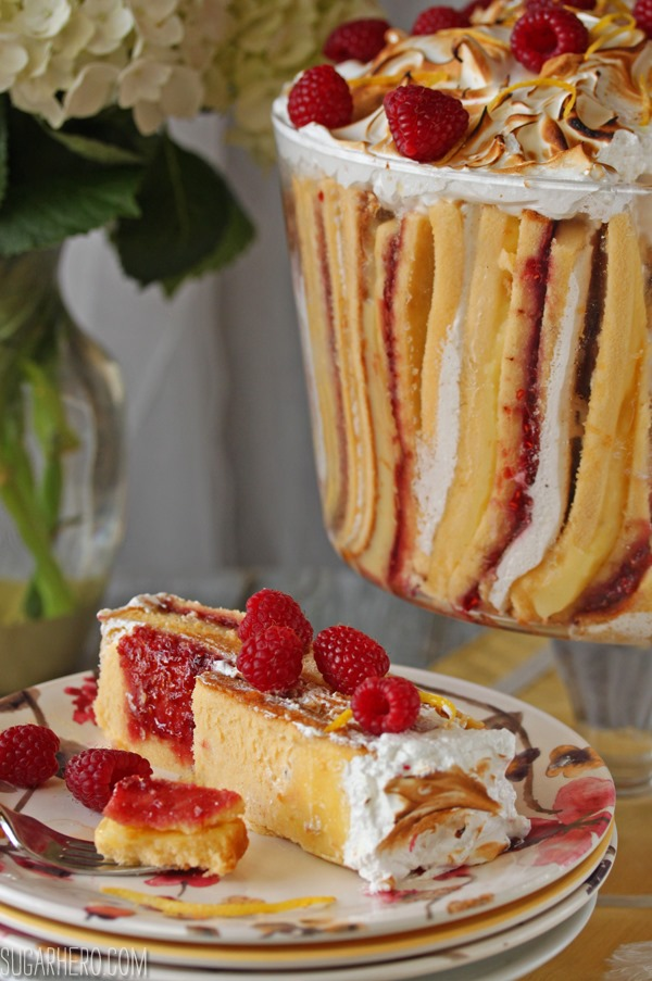 Raspberry Lemon Meringue Trifle | SugarHero.com