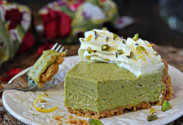 Pistachio Pie with Lemon Whipped Cream | From SugarHero.com
