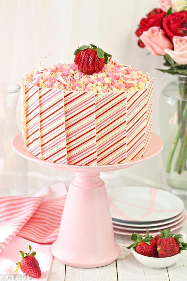 Strawberries and Cream Layer Cake   From SugarHero.com