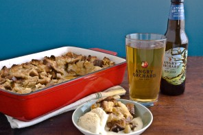 Maple Bread Pudding with Cider Soaked Apples and Cinnamon-Cider Ice Cream from Kevin Gillespie!