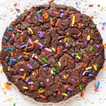 Giant Dark Chocolate Chip Sprinkle Cookie Eggless