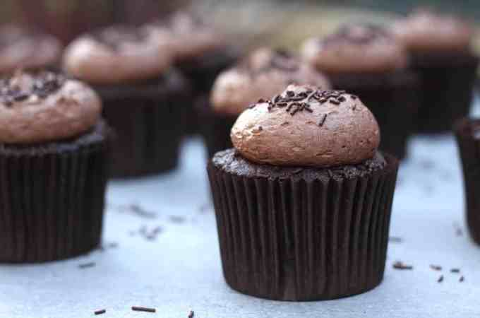 Chocolate Chocolate Cupcakes. Chocolate Cupcakes topped with a rich chocolate buttercream by Sugar Salt Magic