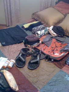 What packing for a month looks like spread out.