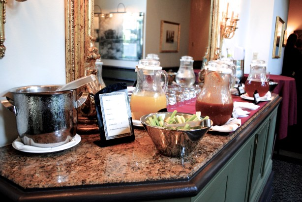 This is what happy hour looks like at Canyon Ranch--a non alcoholic bar spread.