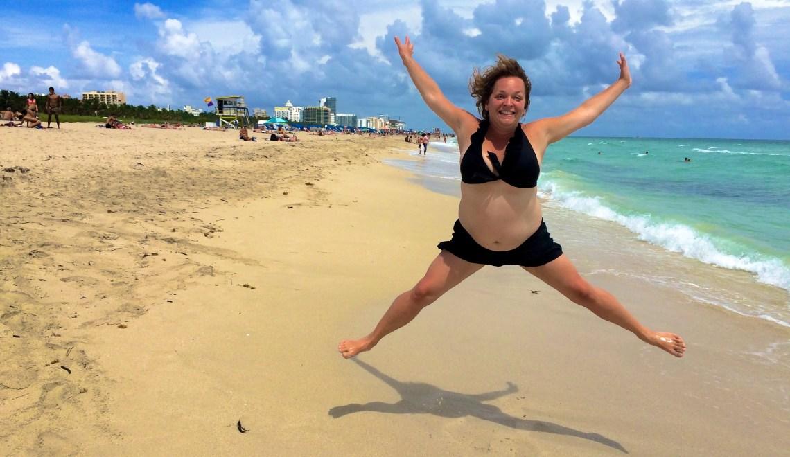 fat people in bikinis at the beach