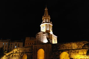 The beautiful clock tower of Cartagena by night, Colombia
