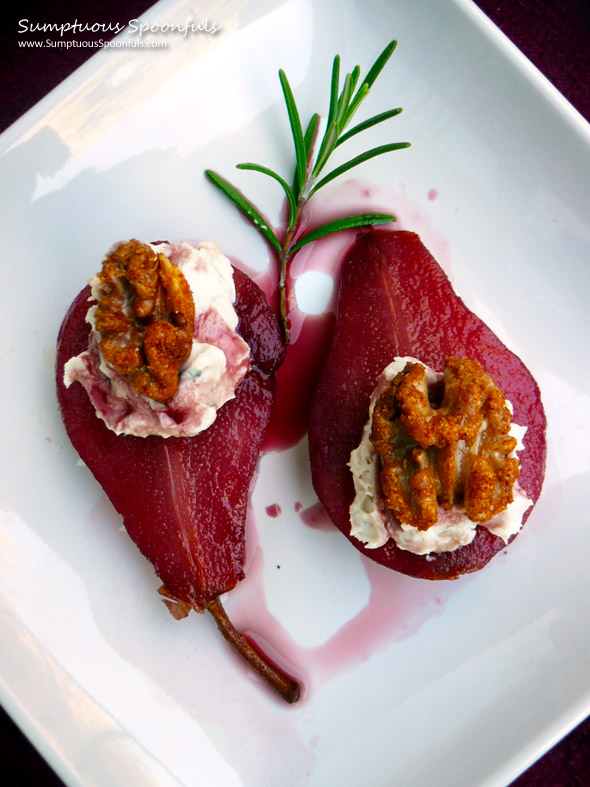 Paleo Red Wine Poached Pears with Chocolate Filling