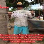 Barra Dave scores a 55 cm Grunter Bream in the Norman river while staying at the Sunset Caravan Park on there annual holidays