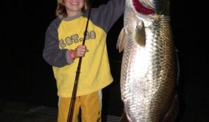 Nine-year-old Riley Vallance with his big barramundi catch