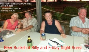 Beer Buckshot Billy and Friday Night Roast Karumba Point Sunset Caravan Park