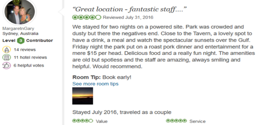 testimonial-review-karumba-point-sunset-caravan-park-dusty