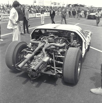 LeMans, LeMans, France, 1965. The business end of the 427 CID Prototype Ford MKII. CD#0776-3301-4355-15