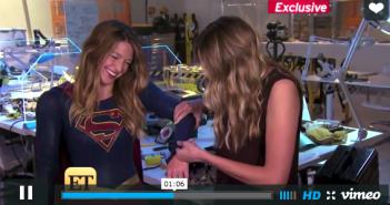 Entertainment Tonight presenter feeling Supergirl Melissa Benoists costume