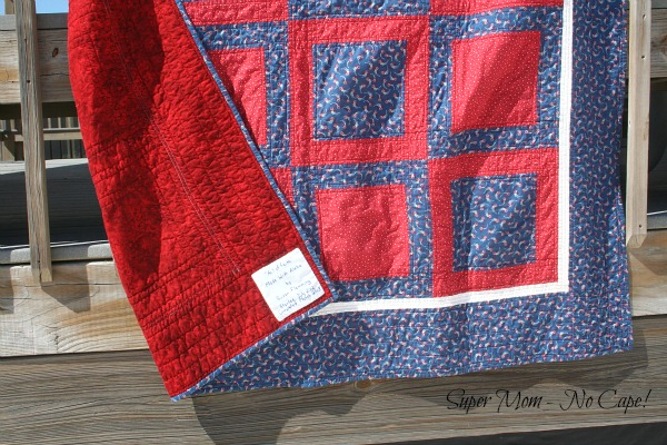 4th of July Picnic Quilt Backing and Label
