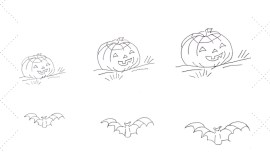 Vintage Workbasket - Embroidery Pattern - Jack O Lanterns and Bats in three sizes