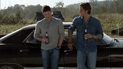 Sam Winchester, Dean Winchester, Supernatural, beer, Impala, drinking