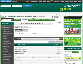 South Melbourne @ PaddyPower Bookmaker