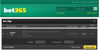 Boston Breakers Women @ Bet365 Bookmaker