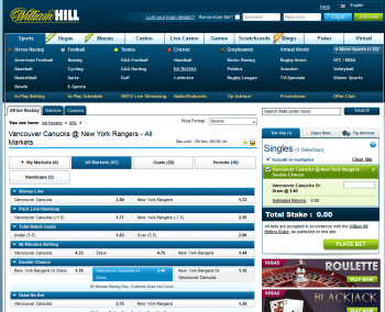 Vancouver Canucks @ WilliamHill Bookmaker